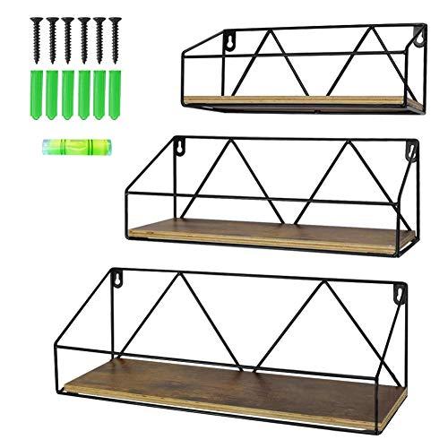 Edenseelake Floating Wall Shelves Set of 3 Wood Shelf Wall Mounted for Bedroom Bathroom Living Room Kitchen and Office