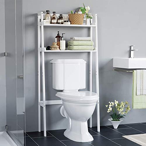 HOMECHO Bathroom Over Toilet Storage Shelf 2-Tier Toilet Tower Holder Space Save Freestanding Rack White Finish