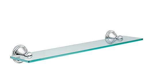Moen DN8490CH Preston Collection 195-Inch Wide x 4-Inch Deep Decorative Glass Bathroom Vanity Shelf Chrome