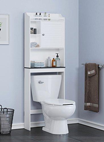 Spirich Home Bathroom Shelf Over The Toilet Bathroom Cabinet Organizer Over Toilet with Louver DoorWhite Black Shelf