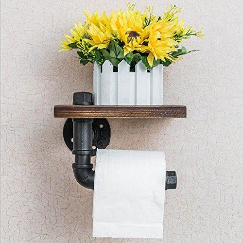 Industrial Pipe Shelf Rustic Black Metal Wall Mounted Bathroom Shelf-Toilet Paper Holder with Mobile Phone Storage