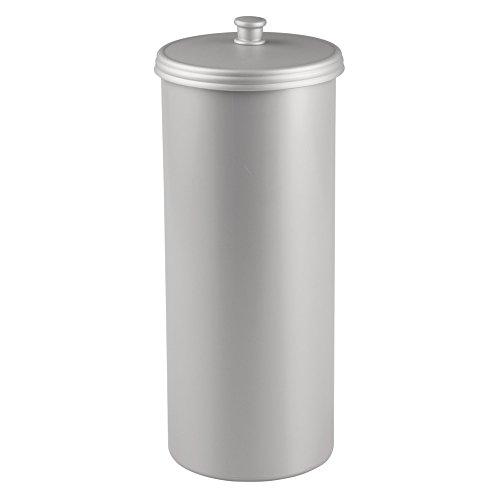 InterDesign Kent Bathware Free Standing Toilet Paper Roll Holder For Bathroom Storage Silver