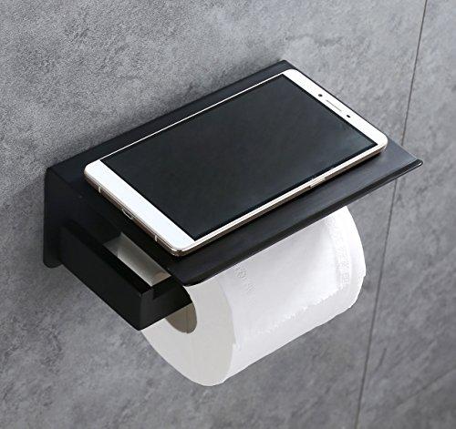 Toilet Paper Holder APL SUS304 Stainless Steel Bathroom Paper Tissue Holder with Mobile Phone Storage Shelf Rack Matte Black