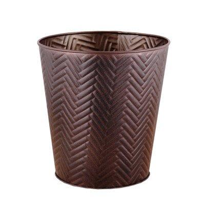 3-Gal Chevron Round Metal Wastebasket