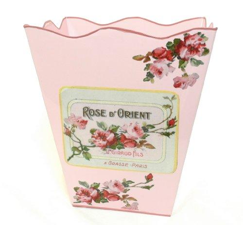 French Floral Decor Wastebasket Trashcan Trash Holder Basket or Bin ~ E82 Wave Edge Vintage Pink Metal Waste Basket with Hand Decoupage Old French Soap Label