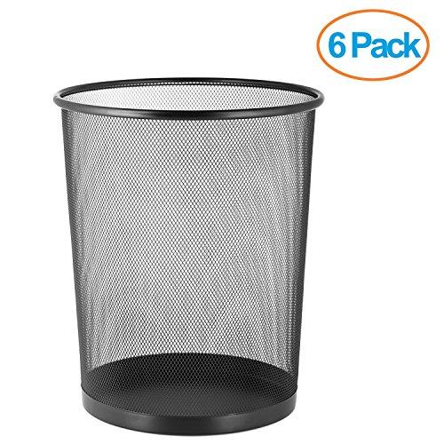 Halter Large Mesh Metal Wastebasket - 14 Tall - 18 Quart  45 Gallon  Capacity - 6 Pack