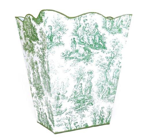 Vintage French Toile Wastebasket Trashcan Trash Holder Basket or Bin ~ E69 Wave Edge Vintage Green Toile Metal Waste Basket with French Toile Pattern