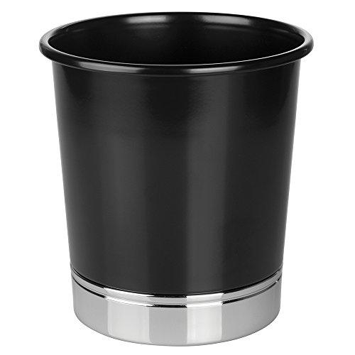 mDesign Metal Wastebasket Trash Can for Bathroom Kitchen Office - BlackChrome