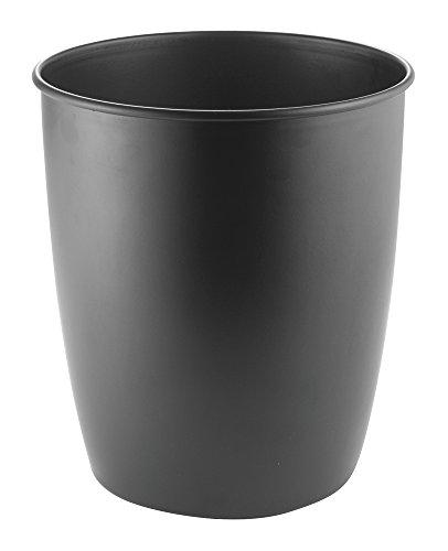 mDesign Metal Wastebasket Trash Can for Bathroom Office Kitchen - Matte Black