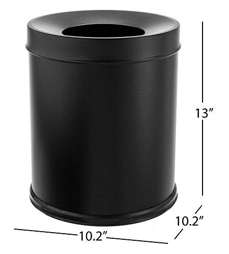 Bennett Center Open Trash Can Small Office Metal Wastebasket Modern Home Décor Round Shape Black