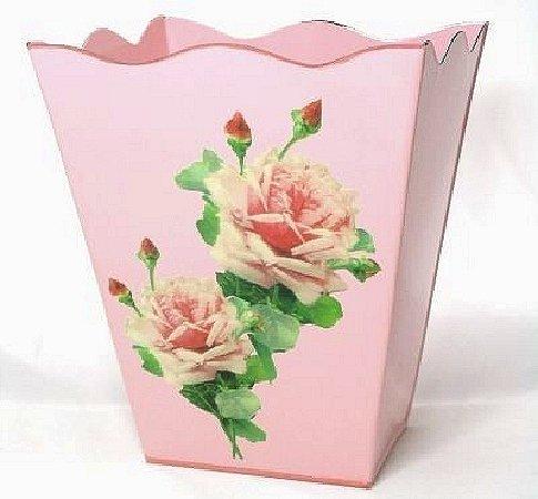 Vintage Style Wastebasket Trashcan Trash Holder Basket or Bin ~ E14 Wave Edge Chic Pink Enamel Metal Waste Basket with Hand Decoupage Shabby Antique Rose