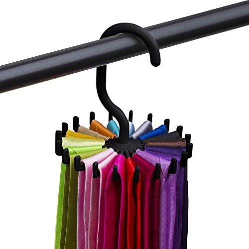 Neck Ties Holder Hanger Rotating Tie Rack Adjustable Tie Hanger Holds 20 Neck Ties Tie Organizer GOTD Black