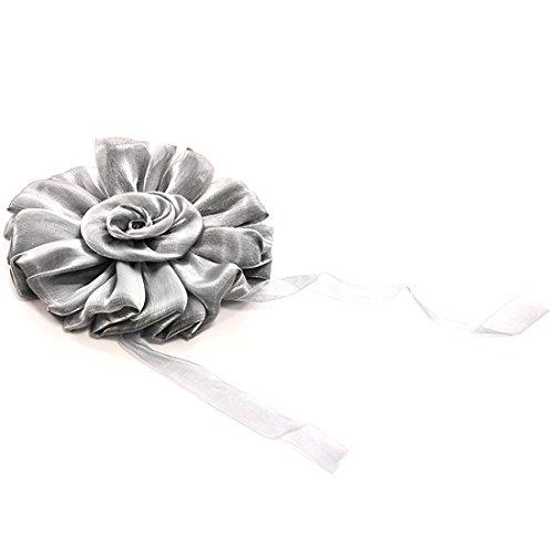 Window Curtain Tieback Clip-on Rose Flower Tie Holder Drape Decoration-Dark Grey