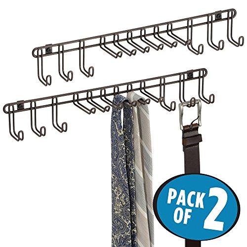 mDesign Wall Mount Closet Organizer Rack for Ties Belts - Pack of 2 Bronze