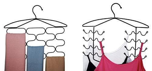 CAXXA Combo Pack Bra Camisole Dress Tank Top Hanger  13 Sections Scarf Tie Belt Holder  Closet Bedroom Mudroom Organizer Storage Holder Bronze