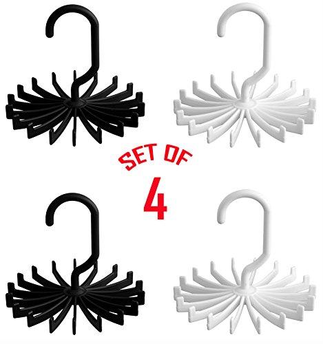 Smartek 360 Degree Rotating Tie Rack Closet Storage Black and White 4 Pack