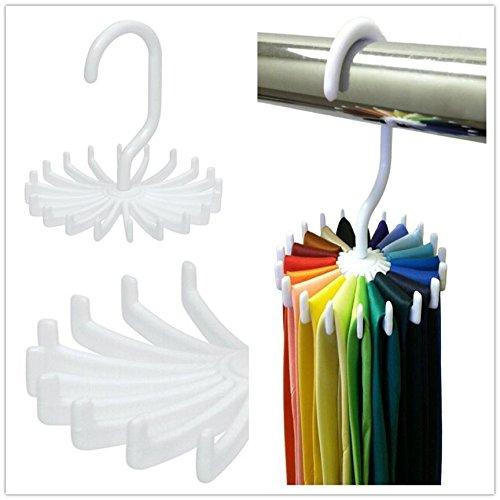 BizAmzz - Bathroom Closet - 1pcs White Rotating Tie Rack Organizer Hanger Closet Storage Scarf Holds 20 Neck Ties Pc672299 - Shelf Hanger Brooch Hanger Scarf Organizer In Shelf Hanger Holders Racks