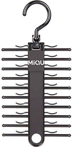 MIQU 2-Pack Black Tie RackOrganizer Hanger HolderNon-Slip Tieup to 20 TieMulti-Use Space-Saving Plastic Organize