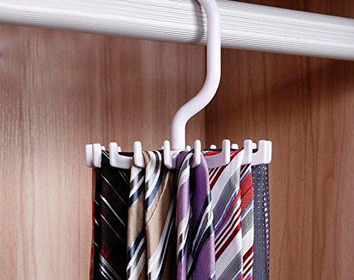 Tie Rack Hanger Scarf Holder Hook Adjustable Rotating 20 Hook for Closet Organizers A