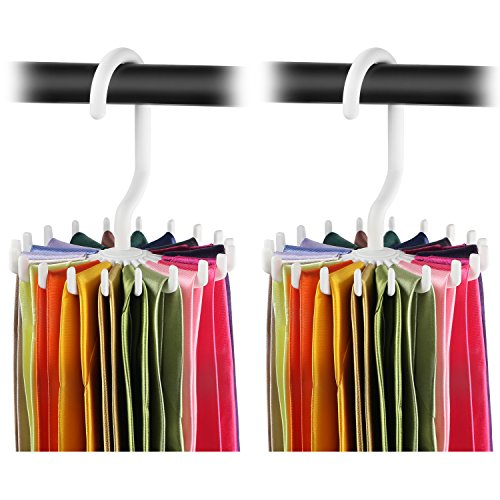 2 Pack Ipow 360 Degree Rotating Twirl Tie Rack Adjustable Tie Belt Hanger Holder Hook Ties for Closet Organizer Storage 44white