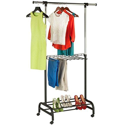 Deluxe Adjustable Garment Rack with Built-In Pants Rack Shoe Rack and Locking Wheels - Expandable Metal Storage Rack