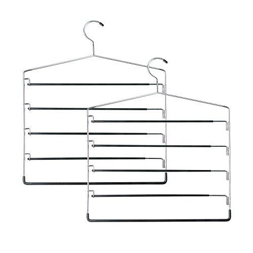 Honey-Can-Do HNGT01202  Five-Tier Swinging Arm Pant Rack Black 2-Pack