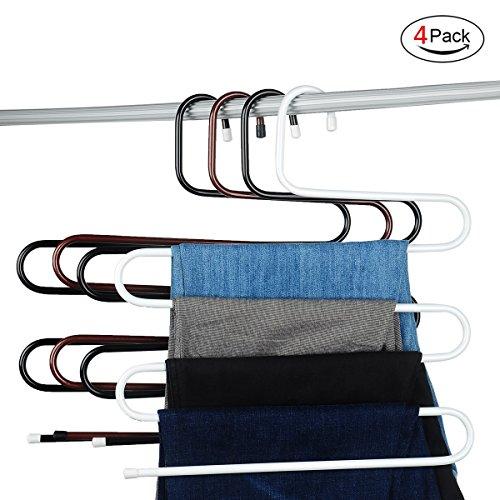 S-type Metal Pants HangersCloset Storage for Jeans Trousers Space Saver Storage RackSet of 4