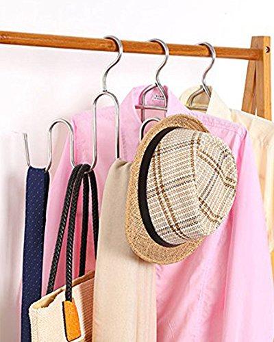 DOIOWN Multipurpose Stainless Steel Hangers Scarves Ties Belts Organizer Shoes Hanger Drying Rack Set of 3