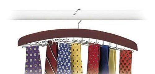 Hardwood Walnut 24 Tie Hanger Clost Accessories Mens Necktie Belt Organizer New