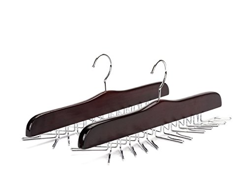 Amber Home Wooden Tie Rack Perfect Storage for Tie Belt Scarf Bag Wooden Tie Hanger Organizer with Chrome Hardware 2