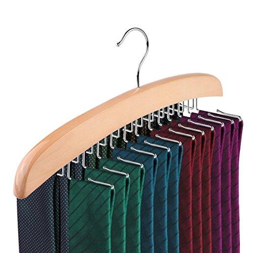 KINGZHUO Wooden Tie Hanger Single Hook 24 Tie Natural Wooden Hanger Organiser Rack Best Choice for your Closet Organiser