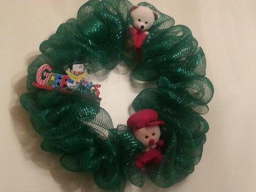 Handmade Green Deco Mesh Holiday Wreath wWreath Bag