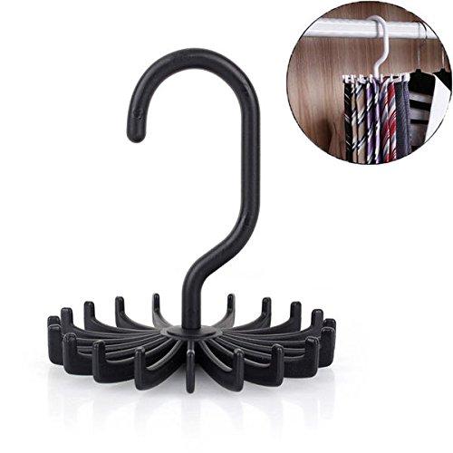 2PCS Adjustable 20 Hooks Rotating Belt Scarf Rack Organizer Men Neck Tie Hanger Holds Black