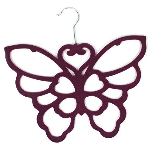 Purple Butterfly Scarf Belt Ties Shawl Necktie Hanger Wardrobe Organiser by Black Ginger