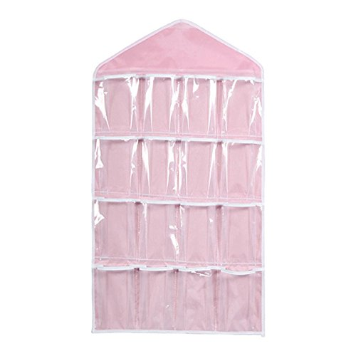 Tinksky 16 Pockets Clear Over Door Hanging Bag Shoe Rack Hanger Underwear Socks Bra Closet Storage Tidy Organizer Pink