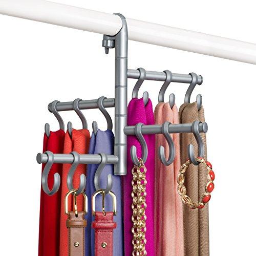 Lynk Hanging Pivoting Scarf Holder - Jewelry Belt Accessory Hanger - Hook Rack Closet Organizer