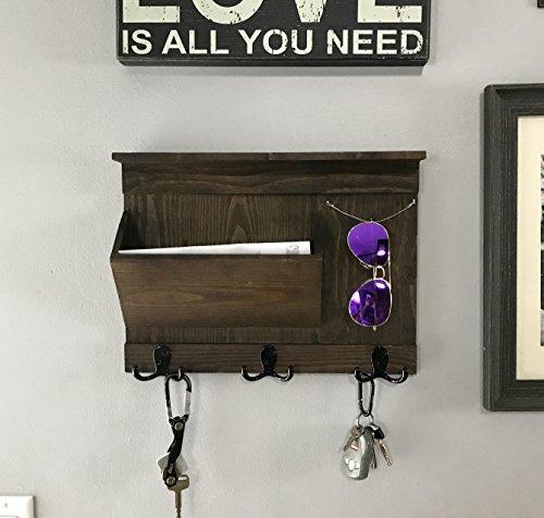 Entryway Organizer - Mail Keys Sunglasses Holder - Rustic Wall Mount - Espresso