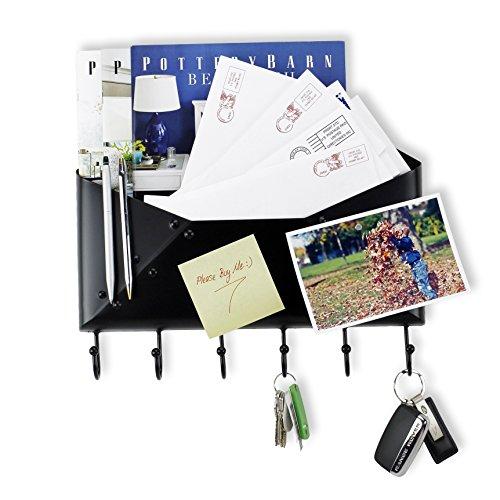 Foyer Wall Mount Letter  Mail  Key  Newspaper Magazine Holder Coat Rack Envelope Shape Steel Entryway Organizer with 6 Hooks  Black