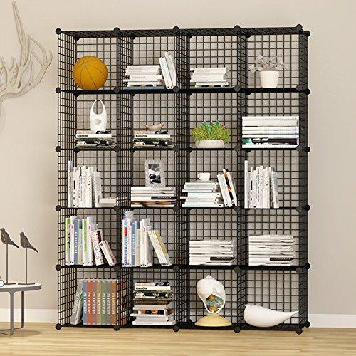 UNICOO - Multi Use DIY 20 Cube Wire Grid OrganizerWardrobe Organizer Bookcase Storage Organizer Wardrobe Closet - Black Wire