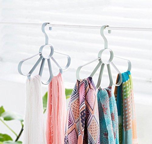 2-PACK Scarf Hangers Belt  Tie  Shawls  Scarves Organizer Holder No Snag Storage Closet  Blue  Green 2 pcs