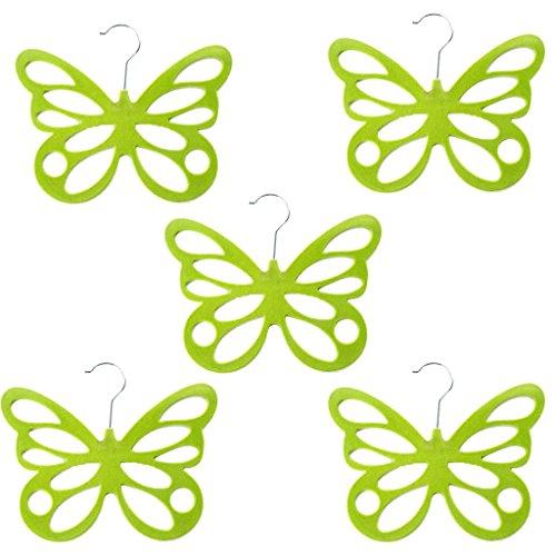 MagiDeal 5 Piece Elegant Scarf Hanger Racks Holder Orangnizer Butterfly Shape for Ties Belts Shawl Scarves Clothes Hanger Blue PurpleGreenRose Red Pick - Green