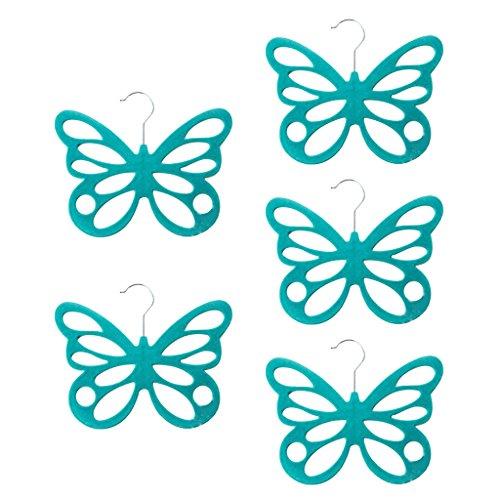 MonkeyJack 5 Piece Scarf Hanger - Luxury Flocking Creative 12 Holes Butterfly Shape Scarf Shawl Ties Belts Socks Organize HangerHolderOrganizer - Blue