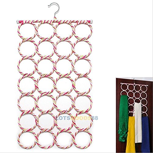 28-hole Ring Rope Slots Holder Hook Scarf Wraps Shawl Storage Hanger Organizer