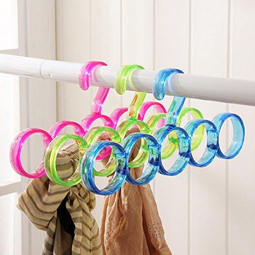 GreenSun 5-Hole Ring Rope Slots Holder Hook Scarf Wraps Shawl Storage Hanger Ties HangerbBelt RackScarves Organizer Practical Tools