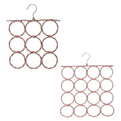 Jili Online 2Pcs Circle Storage Holder Rack 9 and 16 Holes Slots Belt Ties Hook Organizer Fashion Rattan Weave Shawl Scarf Scarves Neat Hangers Random Color