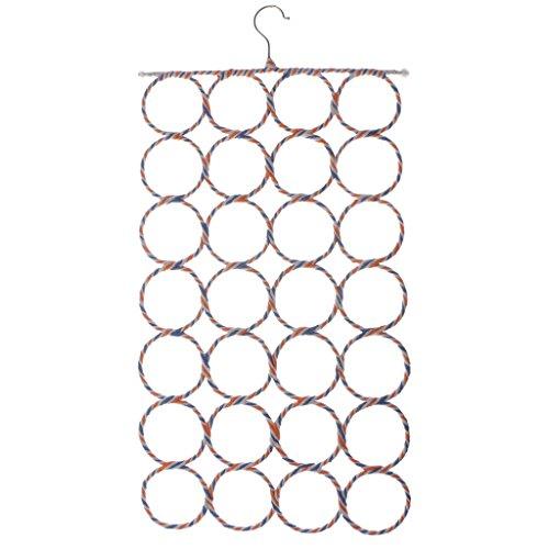 Jili Online 9121628 Holes Slots Belt Ties Hook Organizer Circle Storage Holder Rack Fashion Rattan Weave Shawl Scarf Scarves Neat Hangers Random Color - 28 Circles