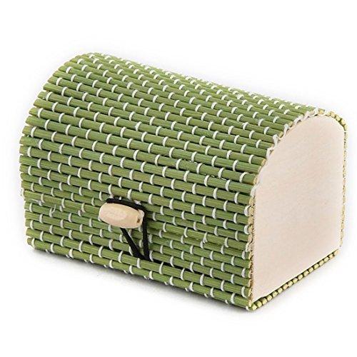 DealMux Wood Handmade Gift Storage Box Jewelry Necklace Ornament Organizer Holder Green