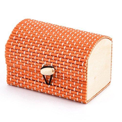 DealMux Wood Handmade Gift Storage Box Jewelry Necklace Ornament Organizer Holder Orange