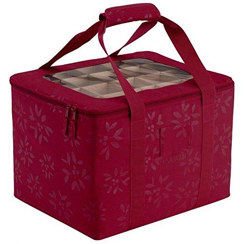 GHP 16x13x12 Home Organization Cranberry Seasons Ornament Organizer and Storage Bin Bag
