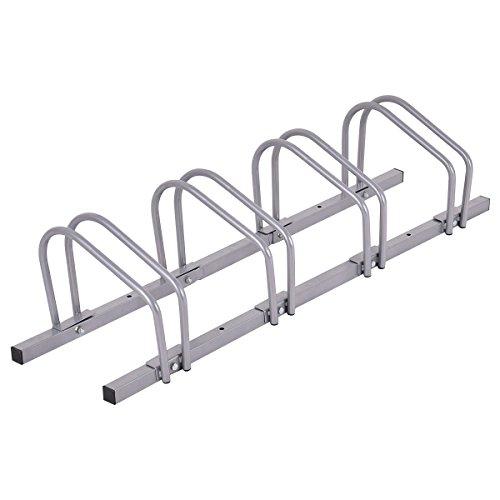 Goplus 4 Bike Rack Bicycle Floor Stand Parking Garage Storage Organizer Cycling Rack Silver